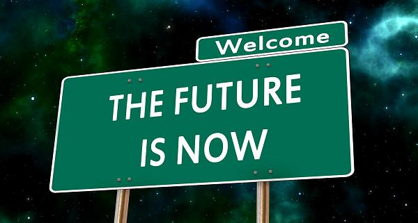 Liikennekyltti - tervetuloa - tulevaisuus on nyt