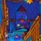 Tuomiokirkko maalauksellisena sinisenä taustalla - edessä kujan yli viritetyt jouluvalot - on jouluyö